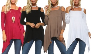 Isaac Liev Women's Cold Shoulder Tunic. Plus Sizes Available.