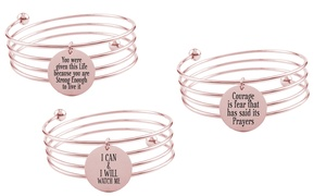 Stainless Steel Inspirational Bangle in Rose Gold Plating by Pink Box