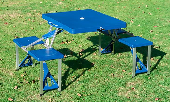 Mesa Plegable De Camping Con 4 Sillas.Mesa Plegable De Camping Groupon