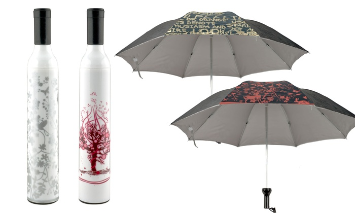 Umbrellas with Wine Bottle Cases