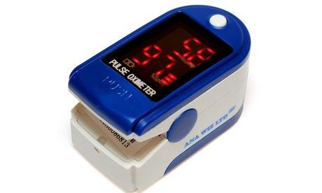 Oxímetro de pulso azul con sensor de oxigeno en sangre