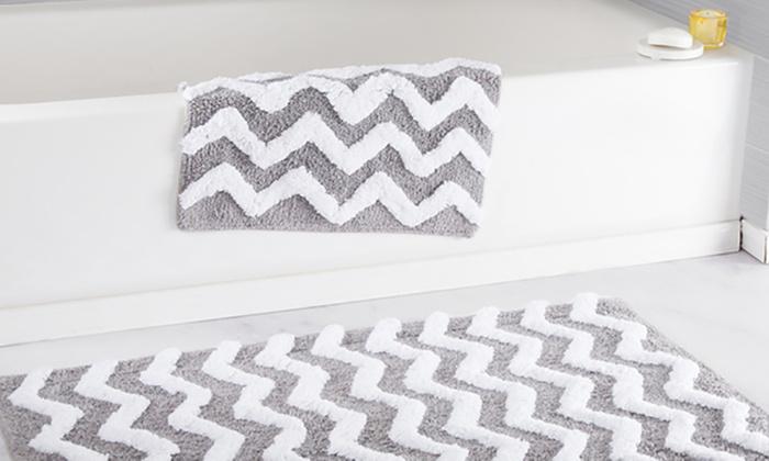 Lavish Home 100% Cotton Chevron Bathroom Mat Set (2-Piece) ...