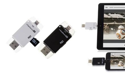 Adaptador Dam I Flash para iPhone y iPad de la marca Tekkiwear Dam con opción a tarjeta Micro SD
