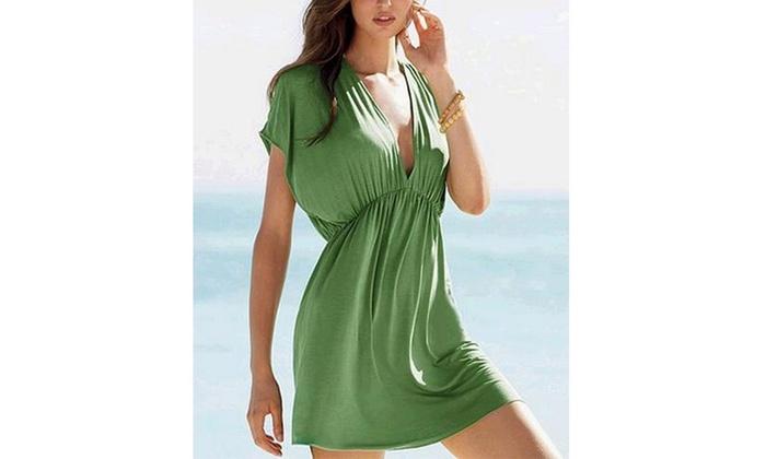 Long V-Neck Cleavage Beach Dress