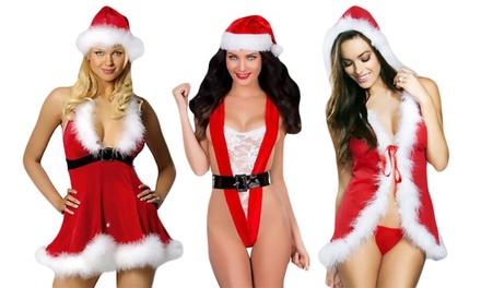 1 of 2 sensuele kerstvrouwen lingeriesetjes met muts