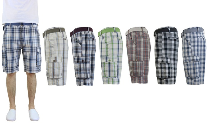 Men's Cotton Belted Plaid Cargo Shorts