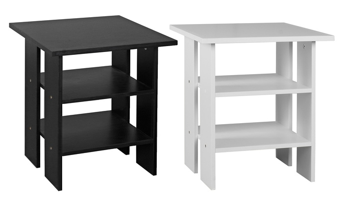 Two-Tier Bedside Tables in Black or White from £14.99