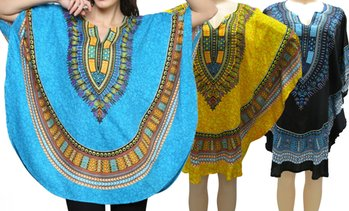 Women's One Size Dashiki Poncho Tunic