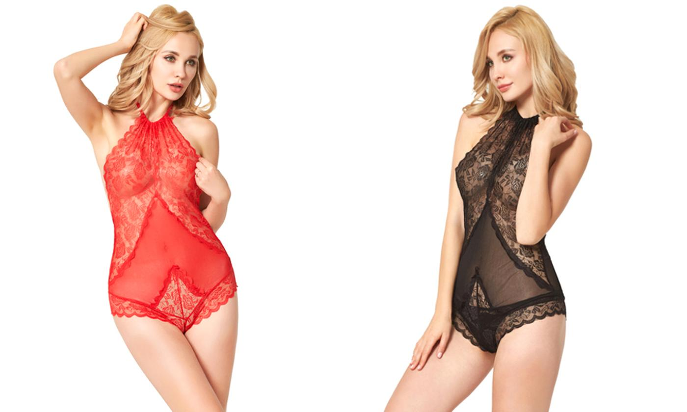 One or Two Lace Halterneck Bodysuits