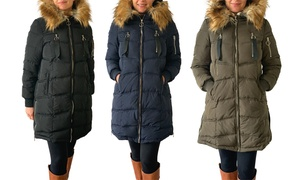 Steve Madden Women's Parka with Faux Fur-Lined Hood