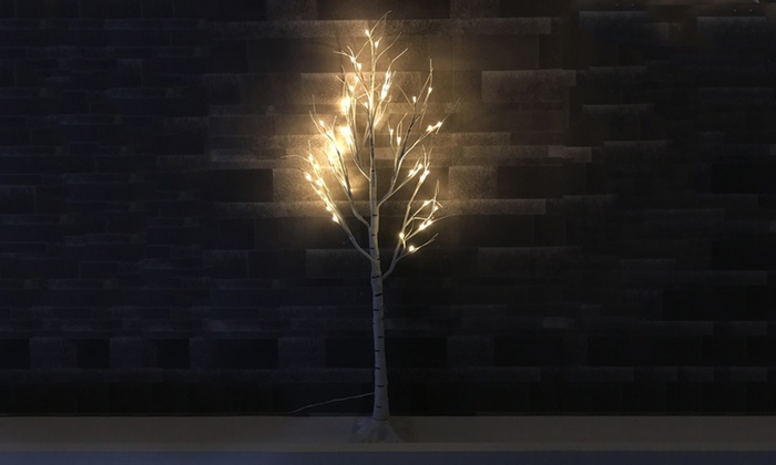 4-Foot Pre-Lit Artificial Birch Tree