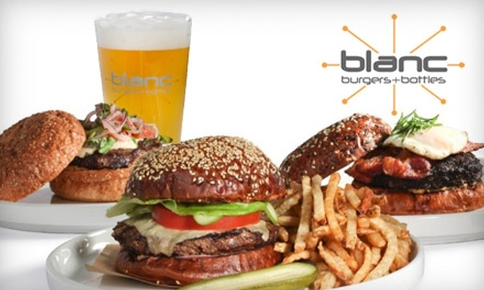 Blanc Burgers + Bottles  - Multiple Locations: $10 for $20 Worth of Gourmet Burgers and Drinks at Blanc Burgers + Bottles
