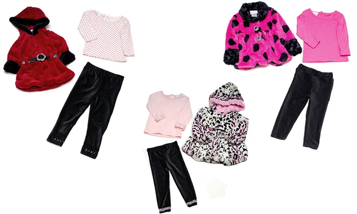 Sweet and Soft Paris Girls' Coat, Top, and Leggings Set: Sweet and Soft Paris Girls' Coat, Top, and Leggings Set
