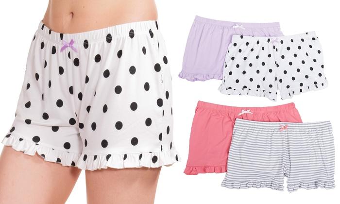 02e425d84c8 Women's Ruffle Seriously Soft Sleep Shorts (2-Pack) | Groupon