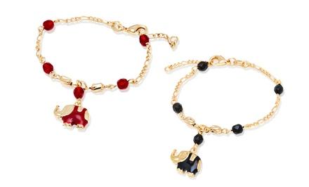Crystal Elephant Enamel Charm Bracelet