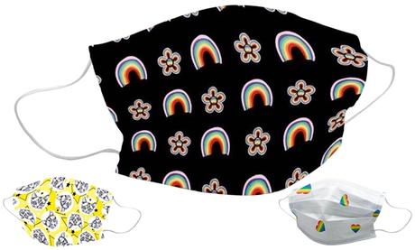 1, 2, 3, 5 o 10 máscaras faciales de algodón lavables y reutilizables multicolor con estampado de arco iris