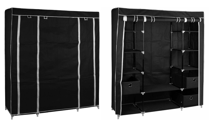 Large Fabric Canvas Wardrobe