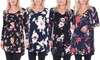 Women's Long Sleeve Print V-Neck Tunic Top. Plus Sizes Available.