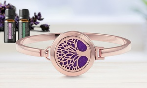 Tree of Life Essential Oil Diffuser Bracelet with Optional Oils