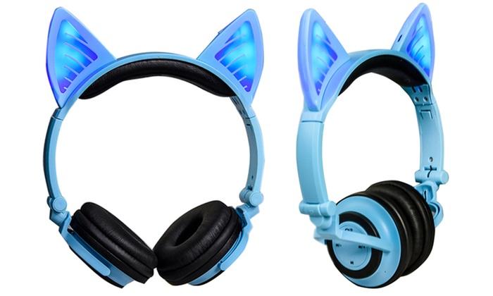 Bluetooth headphones wireless pink - cat wireless headphones bluetooth