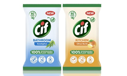 SixPack of Cif Bio Bathroom and Kitchen Wipes 80 Sheets