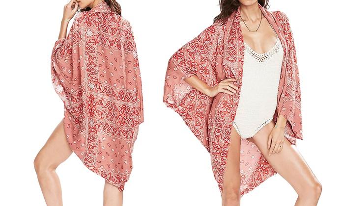 Bandana-Print Kimono Beach Cover-Up