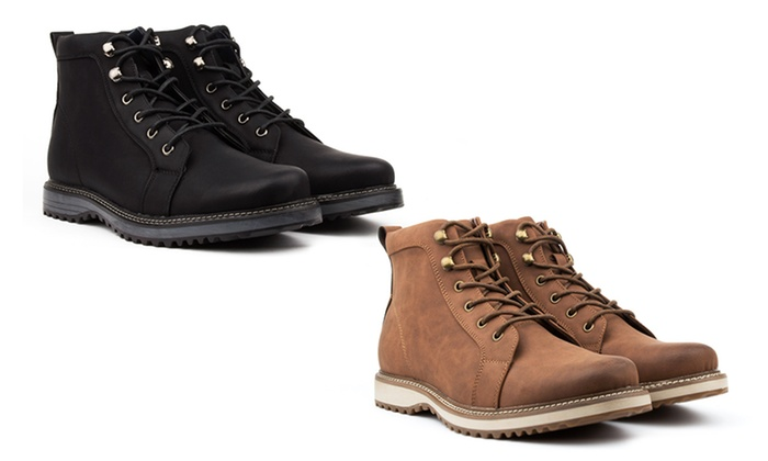 Vincent Cavallo Men's Plain-Toe Combat Boots