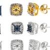 Round-Cut Diamond and Gemstone Earrings (3-Pack)
