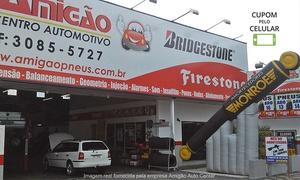 Amigão Auto Center: Amigão Centro Automotivo – 3 lojas: alinhamento, balanceamento, rodízio, calibragem e revisão (opção de óleo e mais)