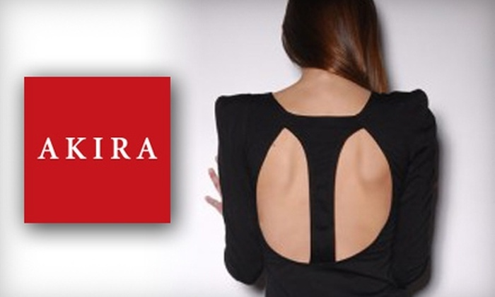 Akira - Multiple Locations: $15 for $30 Worth of Apparel and Accessories at Akira. Choose from Three Options and 13 Locations.