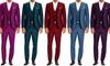 Bernardi Men's 3-Piece Slim-Fit Sharkskin Suits: Bernardi Men's 3-Piece Wool-Blend Slim-Fit Sharkskin Suits
