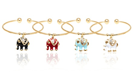 Elephant Charm Cuff Bangles with Swarovski Elements