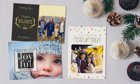 Custom Flat Holiday Photo Cards with Free Envelope from Printerpix(Up to 89% Off)