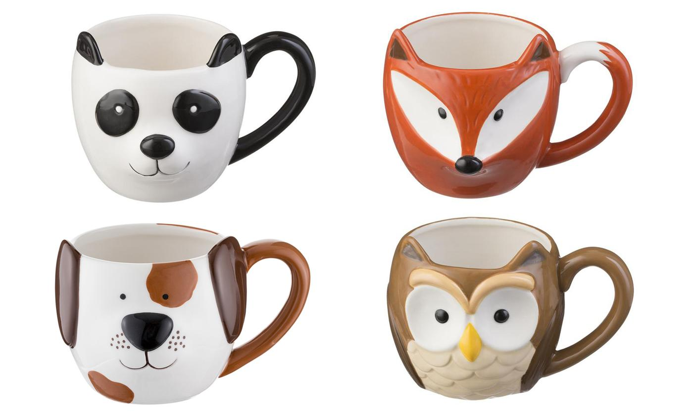 Four- or Eight-Piece Set of Woodland Mugs