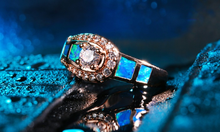 Blue Opal Belt Buckle Ring