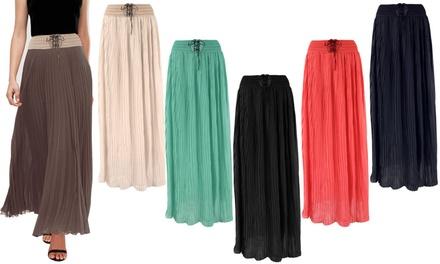 Women's Pleated Chiffon Flared Maxi Skirt