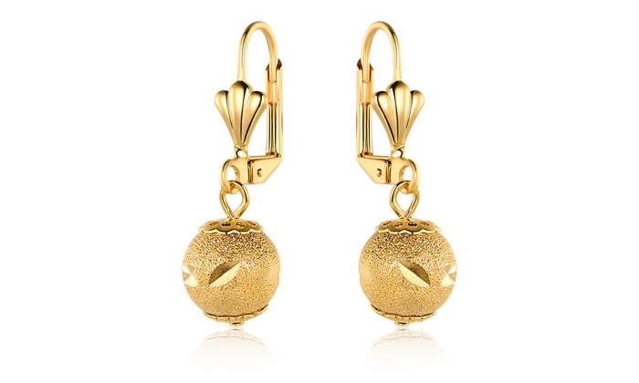 896116913874f 18K Yellow Gold Plated Diamond-Cut Bead Drop Earrings by Sevil