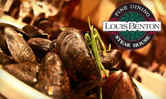 Louis Benton Steakhouse - Heartside-Downtown: $25 for $60 Worth of Fine Steaks, Seafood, Drinks, and More at Louis Benton Steakhouse