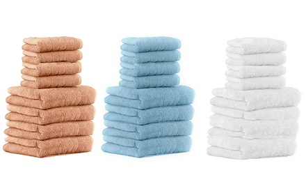 Set di 8 asciugamani in tessuto di puro cotone disponibile in vari colori