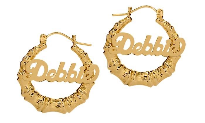 Up To 80 Off Custom Name Hoop Earrings From Monogramhub