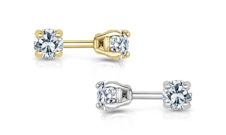 1/5 CTW Round Diamond Stud Earrings