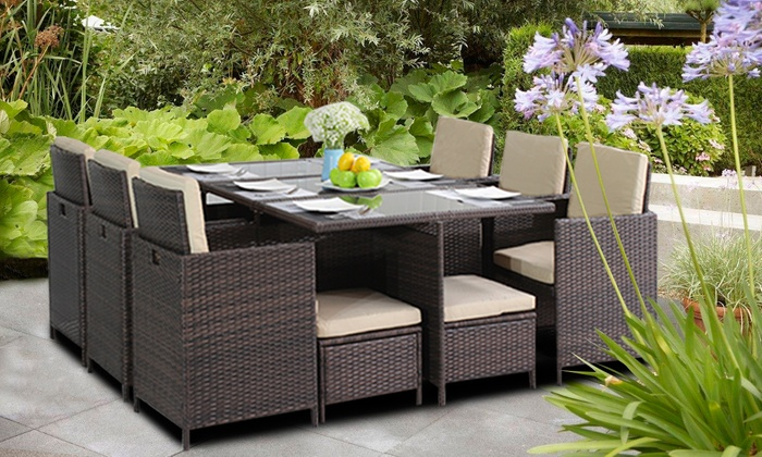 Set Giardino In Rattan.Rattan Effect Garden Furniture Groupon