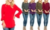 Acting Pro Women's Bell-Sleeve Curved-Hem Top. Plus Sizes Available.