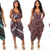 Juniors' One-Size Sleeveless Printed Harem Jumpers