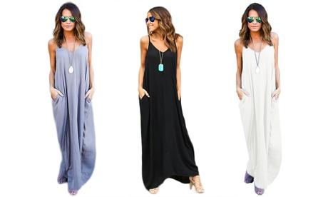 Vestido largo sin mangas para mujer