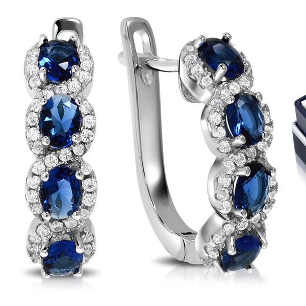 cfddc6d3c Created Blue Sapphire Hoop Earrings in Sterling Silver By MUIBLU Gems |  Groupon