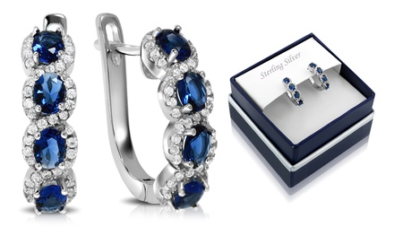 Details about  /15x9mm Pretty 3g Real Blue Sapphire Girls 925 Solid Sterling Silver Ear Earrings