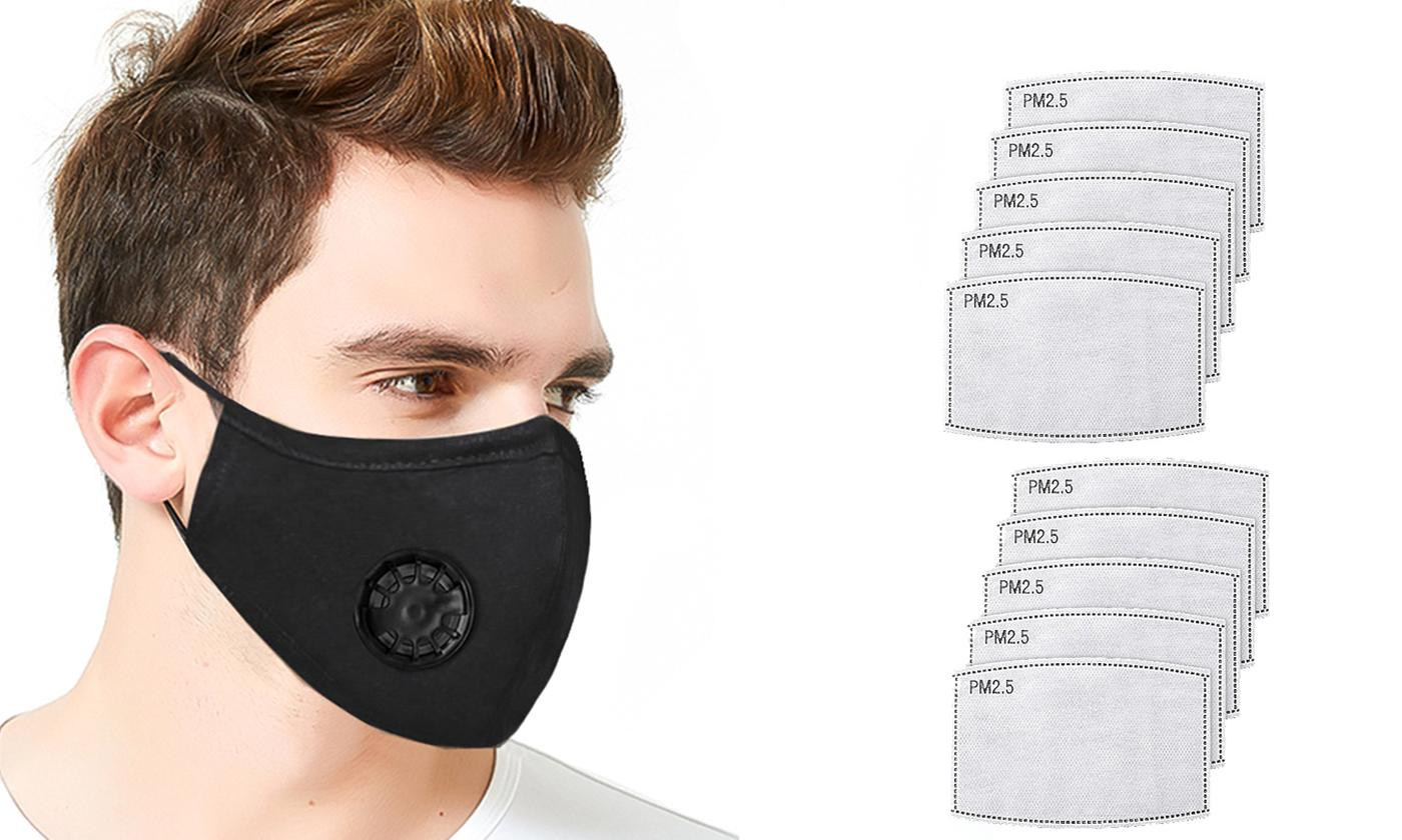One, Two or Three Reusable Cotton Face Masks with 10 Filters