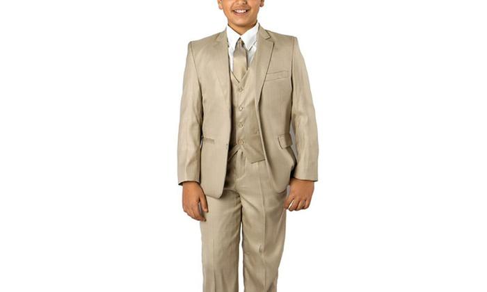 Boys Suit Formal Suit Pinstripe 5 Pieces Set Jacket Dress Shirt Vest Tie Pants