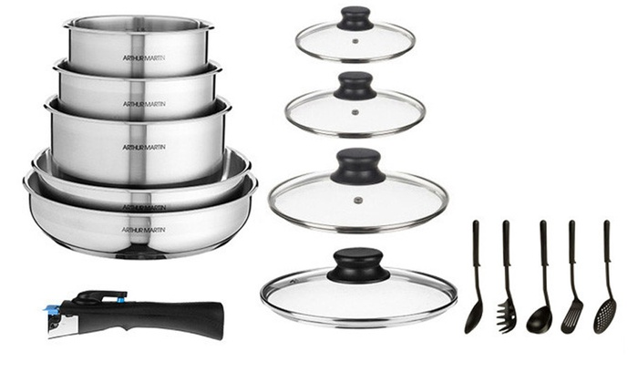 batterie amovible inox arthur martin groupon. Black Bedroom Furniture Sets. Home Design Ideas